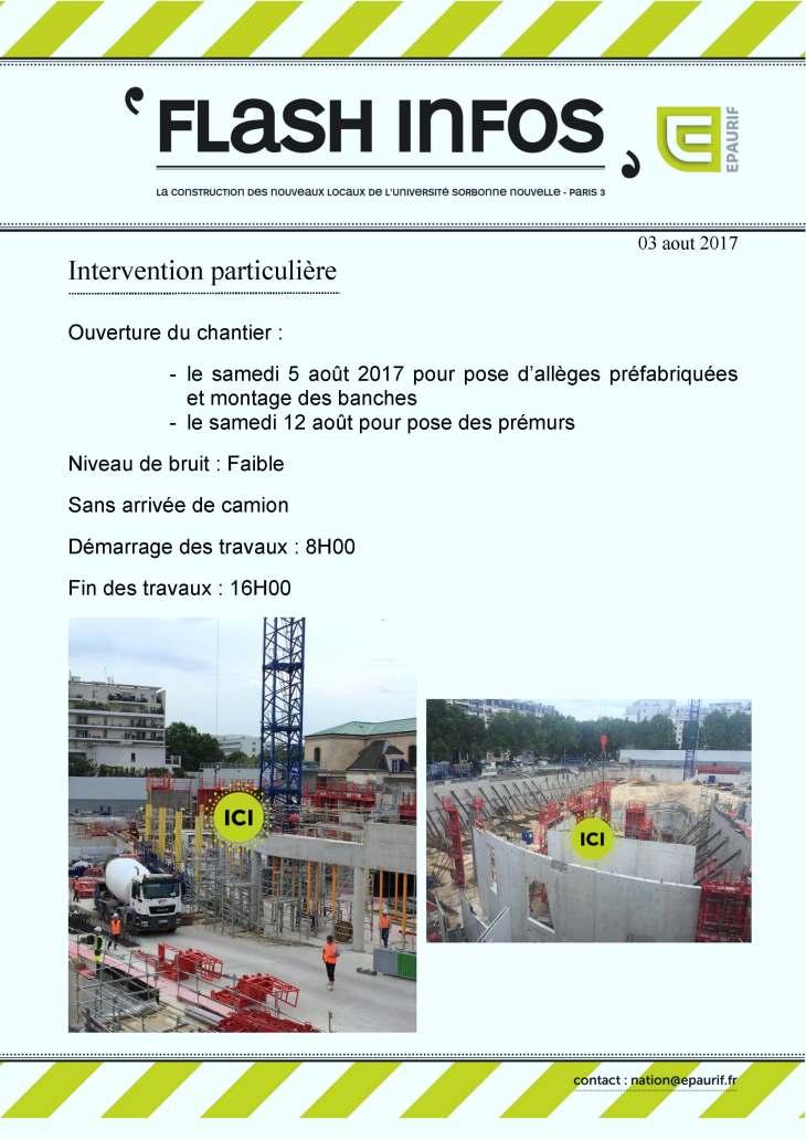 Ouverture du chantier samedi 5 et 12 aout 2017