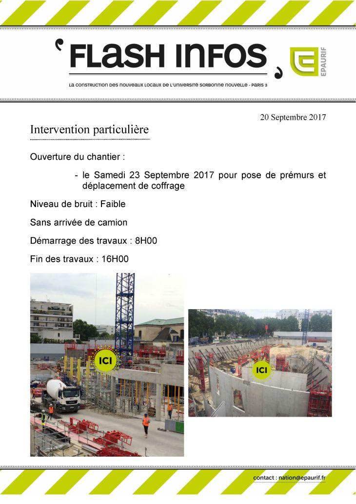 Flash Info - Ouverture du chantier samedi 23 septembre 2017