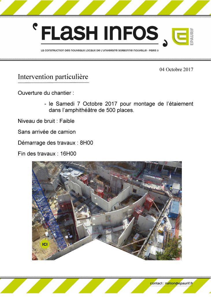 Flash Info - Ouverture du chantier samedi 7 octobre 2017