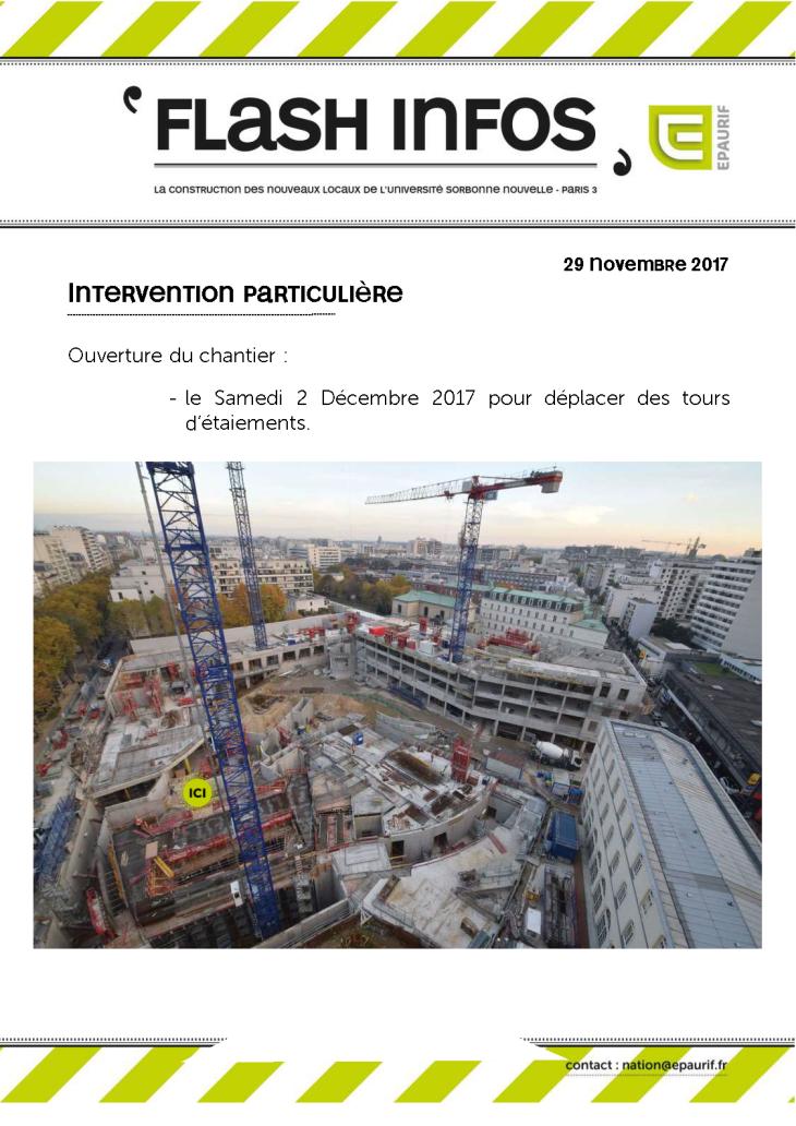 Flash Info - Ouverture du chantier samedi 2 décembre 2017