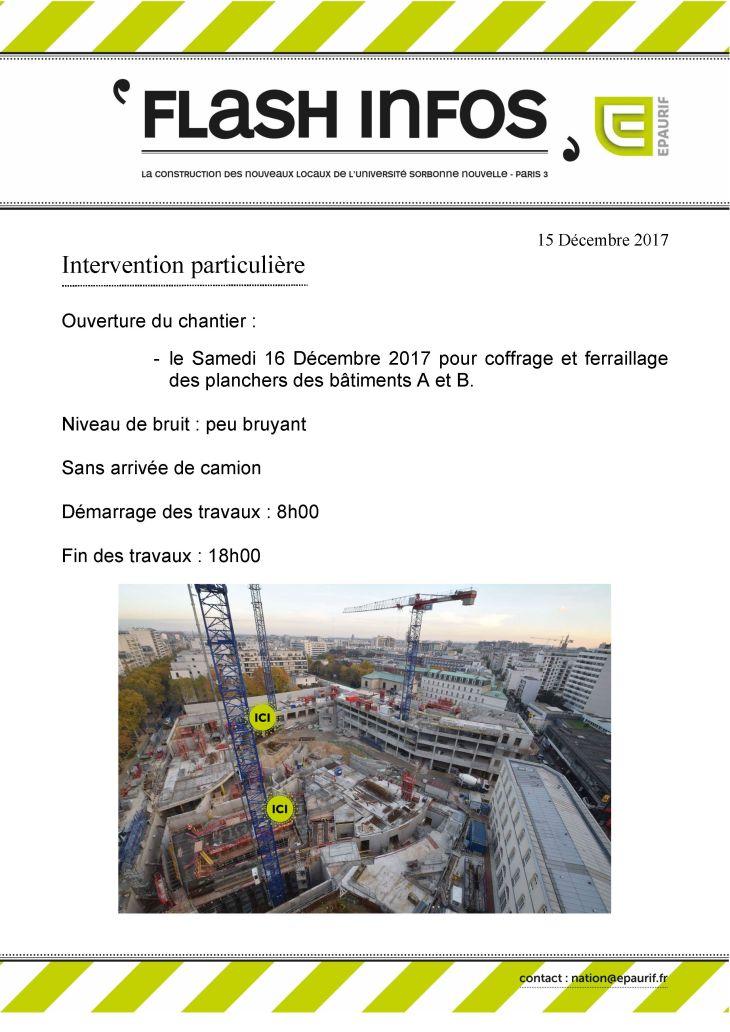 Flash Info - Ouverture du chantier samedi 16 décembre 2017